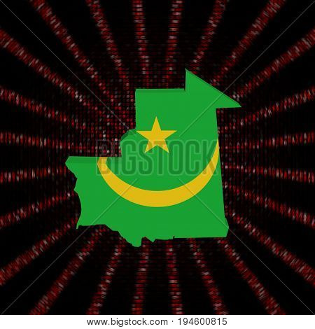 Mauritania map flag on red hex code burst 3d illustration