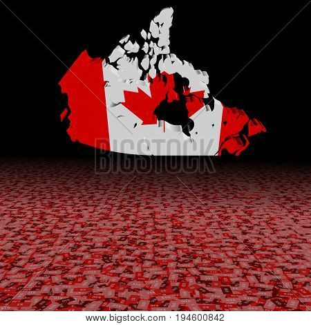 Canada map flag with abstract dollar foreground 3d illustration