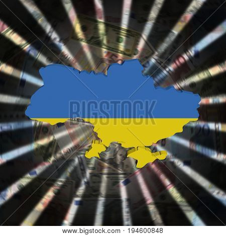 Ukraine map flag on currency burst 3d illustration