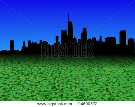 Chicago skyline with abstract dollar currency foreground 3d illustration