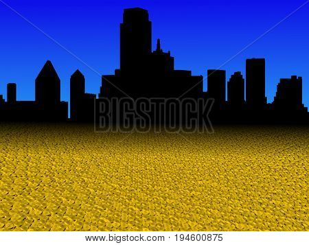 Dallas skyline with golden dollar coins foreground 3d illustration