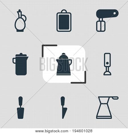Vector Illustration Of 9 Kitchenware Icons. Editable Pack Of Mixer, Jug, Carafe And Other Elements.