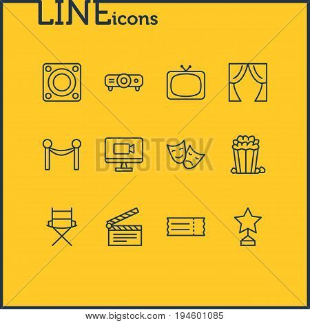 Vector Illustration Of 12 Film Icons. Editable Pack Of Coupon, Tragedy, Television And Other Elements.