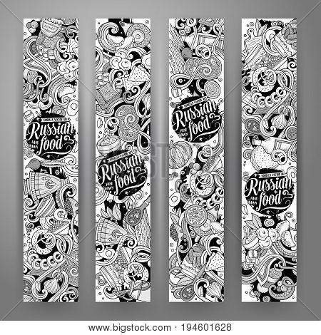 Cartoon cute vector hand drawn doodles Russian food corporate identity. 4 vertical banners design. Templates set