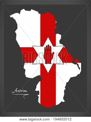 Antrim Northern Ireland Map With Ulster Banner National Flag Illustration