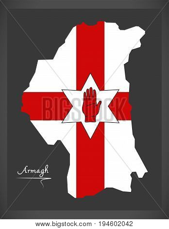Armagh Northern Ireland Map With Ulster Banner National Flag Illustration