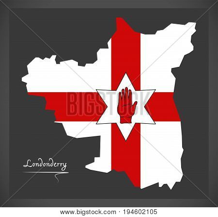 Londonderry Northern Ireland Map With Ulster Banner National Flag Illustration