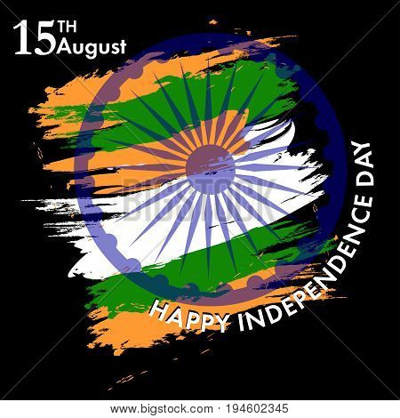 Indian Independence Day with Ashoka wheel 15 th august. The colors of the national flag. Vector Illustration.