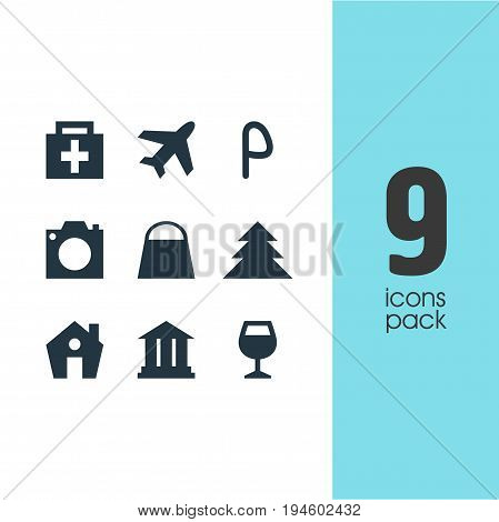 Vector Illustration Of 9 Check-In Icons. Editable Pack Of Wineglass, Handbag, University Elements.