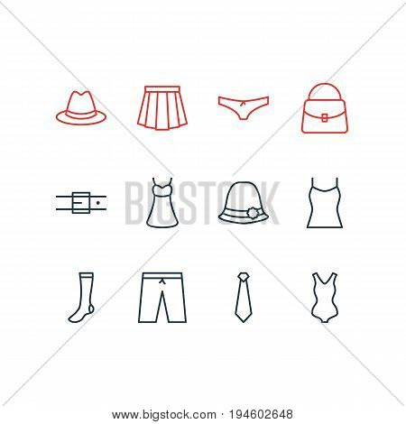 Vector Illustration Of 12 Clothes Icons. Editable Pack Of Singlet, Panties, Fedora And Other Elements.