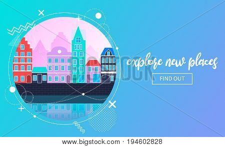 Vector travel banner showing an urban flat landscape in neon colors. Memphis decor elements. Copyspace on the right