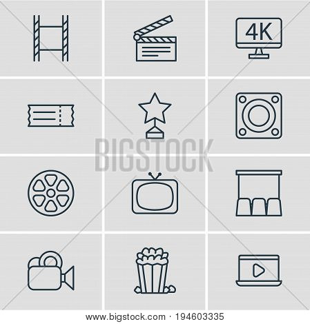 Vector Illustration Of 12 Movie Icons. Editable Pack Of Snack, Loudspeaker, Coupon And Other Elements.