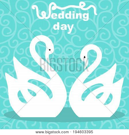 Wedding card with the bride and groom on an abstract background. Swans. Bride and groom. Vector illustration.