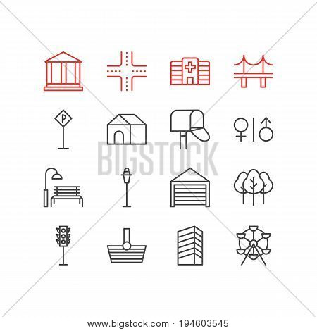 Vector Illustration Of 16  Icons. Editable Pack Of Mail Box, Home, Parking And Other Elements.