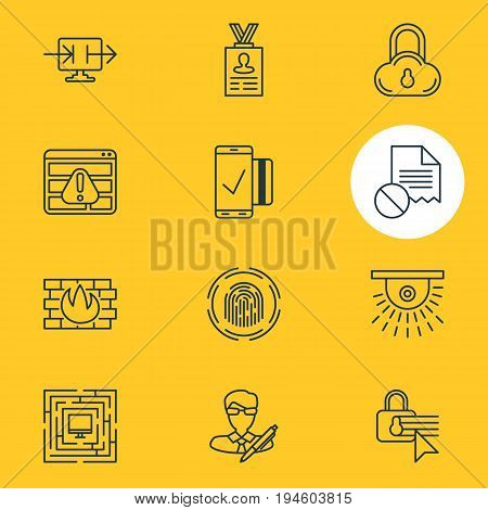Vector Illustration Of 12 Privacy Icons. Editable Pack Of Safe Storage, Account Data, Copyright And Other Elements.