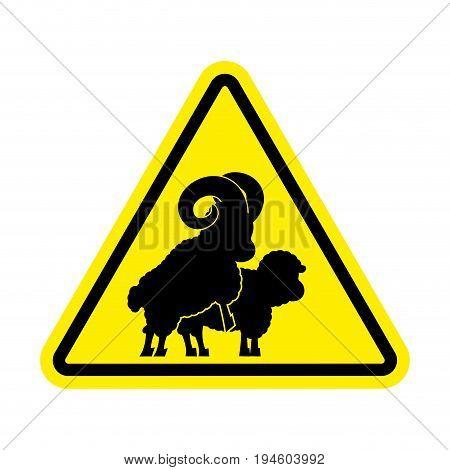 Attention Sheep Sex. Warning Ram Intercourse. Yellow Prohibitory Sign