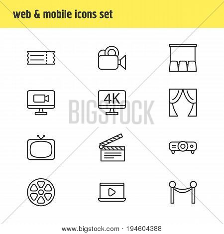 Vector Illustration Of 12 Cinema Icons. Editable Pack Of Tv, Clapper, Coupon And Other Elements.