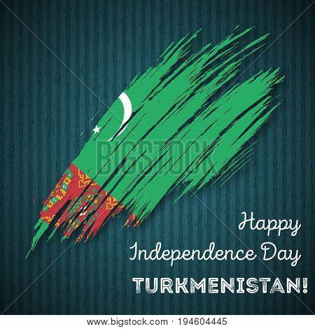 Turkmenistan Independence Day Patriotic Design. Expressive Brush Stroke In National Flag Colors On D