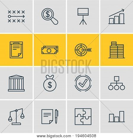 Vector Illustration Of 16 Business Icons. Editable Pack Of Balance, File, Riddle And Other Elements.