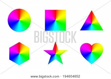 Geometric shapes with conical rainbow gradient, isolated on white background. Vector illustration