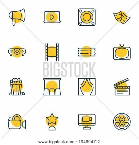 Vector Illustration Of 16 Film Icons. Editable Pack Of Theater, Filmstrip, Reward And Other Elements.