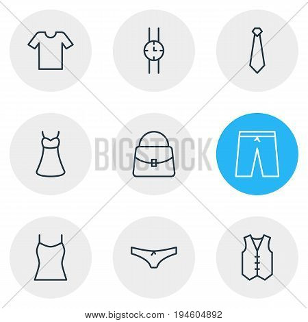 Vector Illustration Of 9 Clothes Icons. Editable Pack Of Panties, Handbag, Singlet Elements.