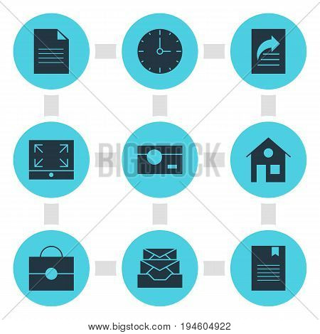 Vector Illustration Of 9 Online Icons. Editable Pack Of Document Transfer, Maximize, Portfolio And Other Elements.