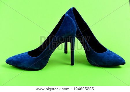 Pair Of Formal Suede Female Shoes, Closeup. Shoes In Blue