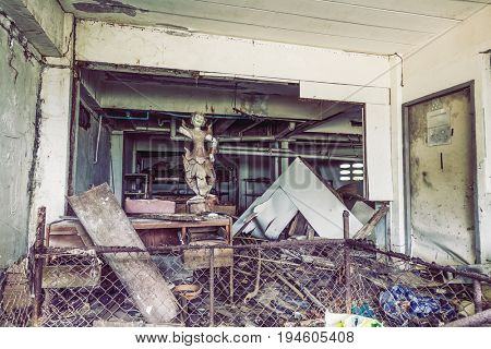 PHUKET, THAILAND - MARCH 31: Abandoned hotel after the 2004 tsunami disaster on March 31, 2017  Phuket, Thailand