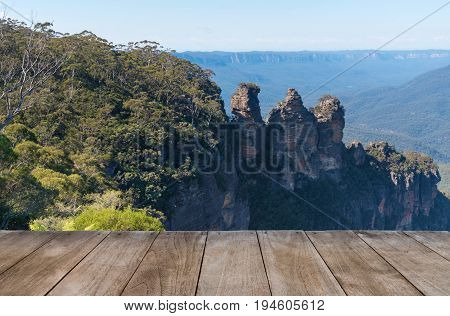 Empty Wooden Table In Front Of Jamison Valley And Three Sisters Rock Formation In Katoomba, Australi