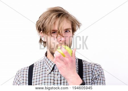 Guy With Fresh Fruit And Suspenders, Isolated On White Background