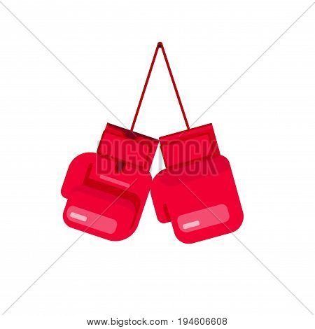 Boxing gloves hanging on rope vector illustration isolated on white background, flat cartoon gloves for box icon