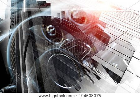 Close of elegant car . Mixed media