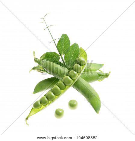 Fresh peas on isolated white background ,bob