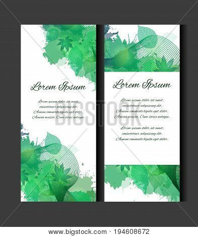 Set of templates of vertical blanks with green leaves watercolor spray and place for text. Vertical banners leaflets vouchers. Element for your design