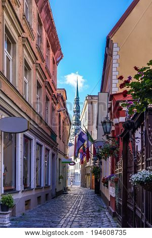 Old medieval street in the historic center of Riga