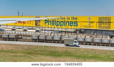 Manila Philippines - 7 March 2016. Duty Free warehouse of Ninoy Aquino Airport (NAIA) in Manila Philippines. NAIA is the main intl gateway for travelers to the Philippines.