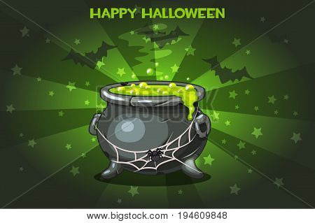 Vector Cartoon pot with Magic potion, set Illustration Happy Halloween