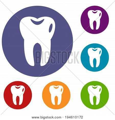 Tooth icons set in flat circle reb, blue and green color for web