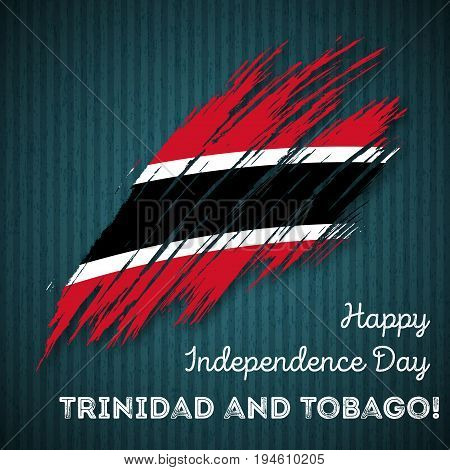 Trinidad And Tobago Independence Day Patriotic Design. Expressive Brush Stroke In National Flag Colo