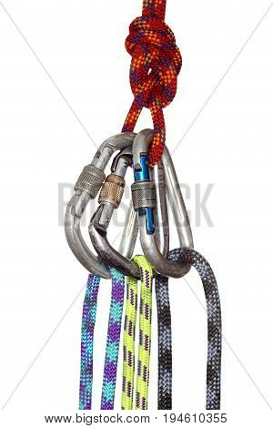 some different ropes with hooks on white background