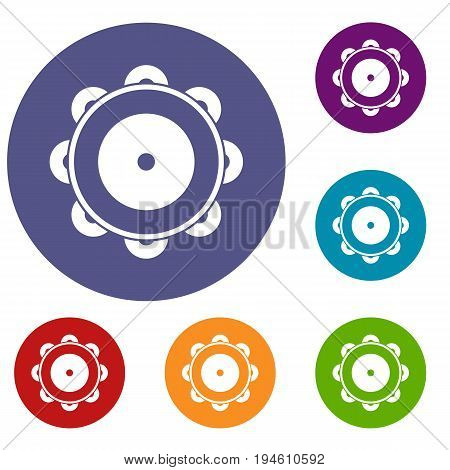 Tambourine icons set in flat circle reb, blue and green color for web