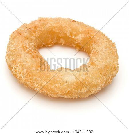 Crispy deep fried onion or Calamari ring isolated on white background