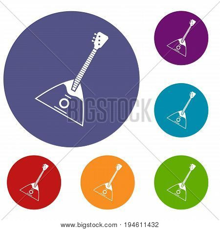 Balalaika icons set in flat circle reb, blue and green color for web