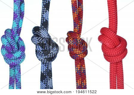 four different ropes with knots isolated on white background