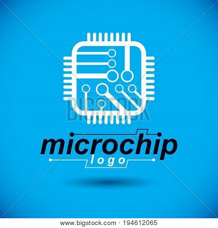 Vector technology cpu design with square microprocessor scheme. Computer circuit board digital element. Technology microchip logo.