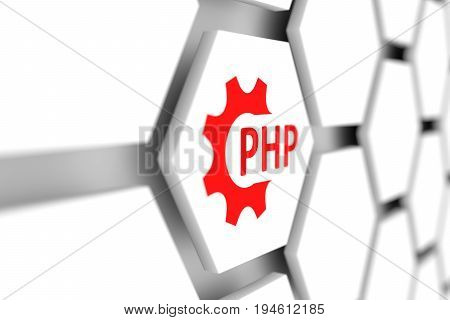 PHP wheal gear cell blurred background 3D illustration