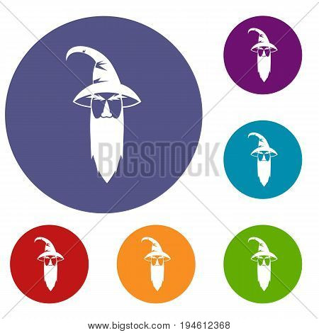 Wizard icons set in flat circle reb, blue and green color for web
