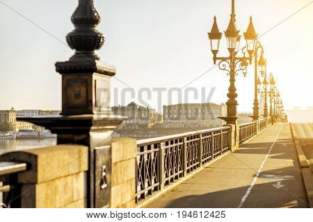 Beautiful view on the famous saint Pierre bridge during the morning light in Bordeaux city, France
