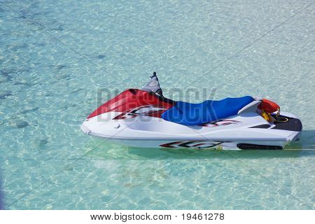 Personal watercraft on crystal blue water